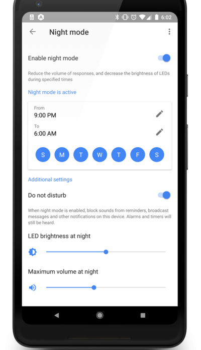 Google Home Night Mode