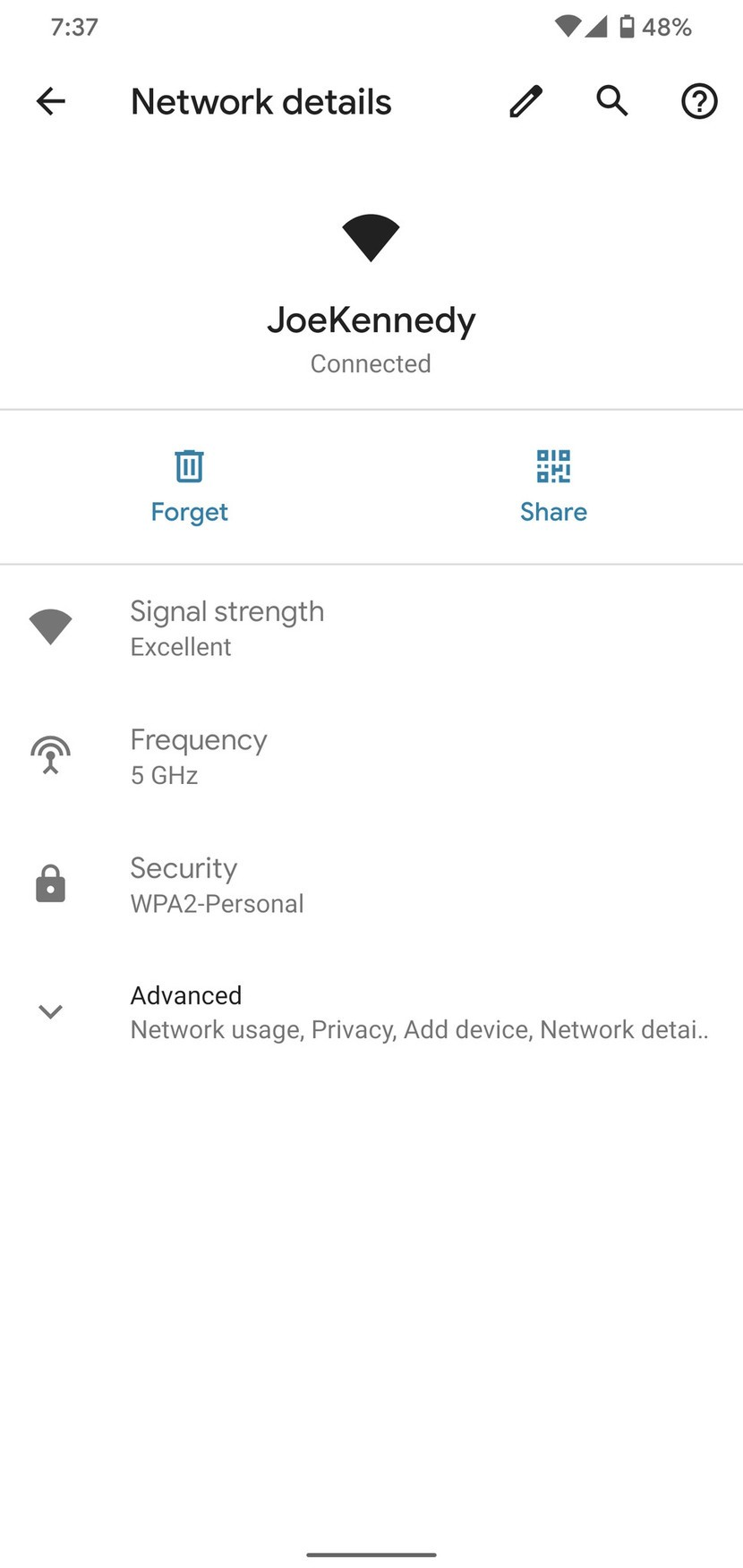 Android 10 Wi-Fi network settings