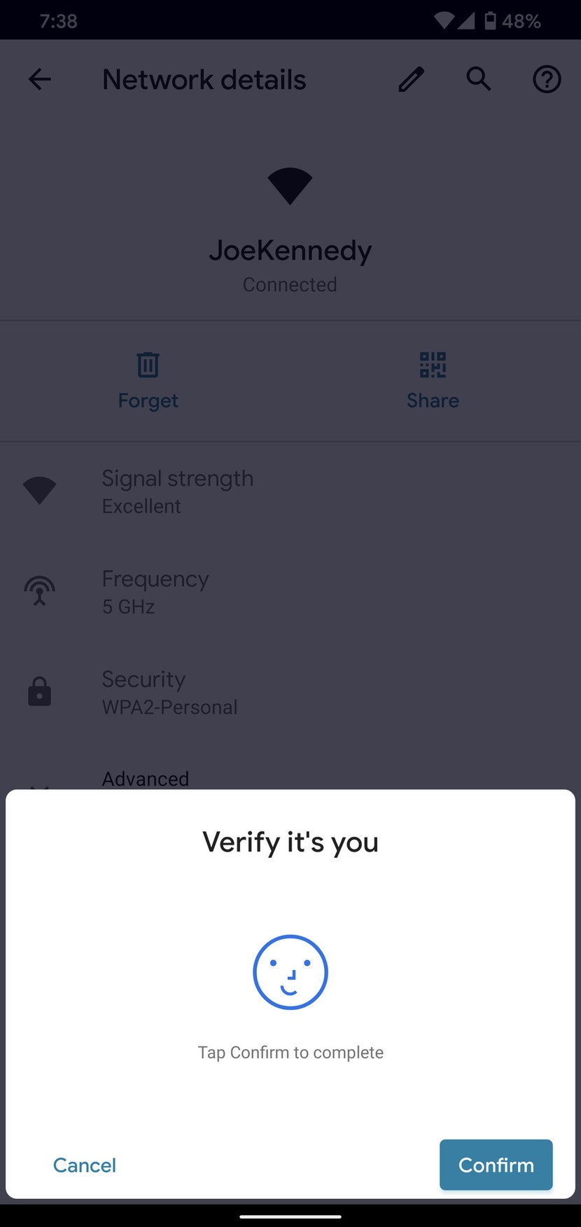 Android 10 verify identity prompt