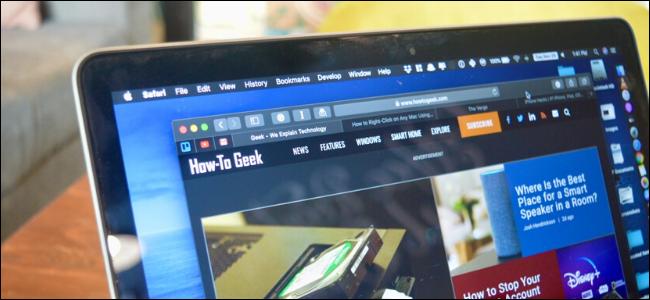 MacBook, показывающий, как получить сайт Geek в темном режиме в Safari