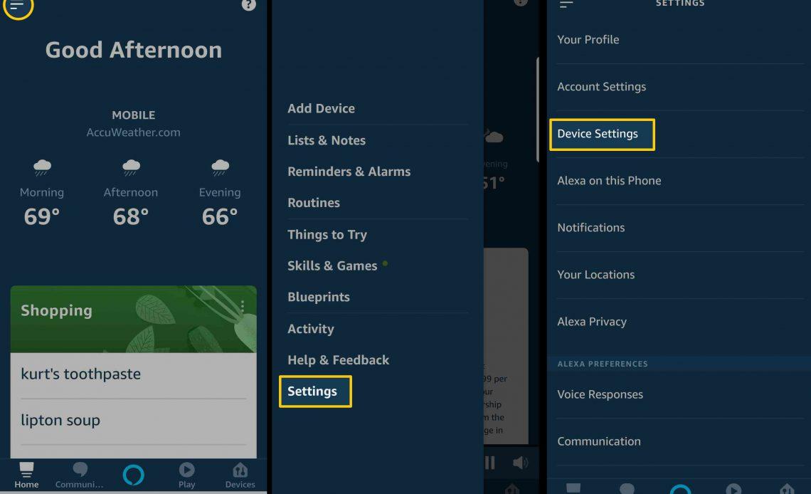 Снимки экрана, показывающие расположение параметра «Настройки устройства» в приложении Alexa.