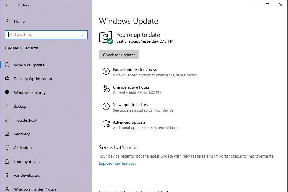 Утилита Windows Update в Windows 10