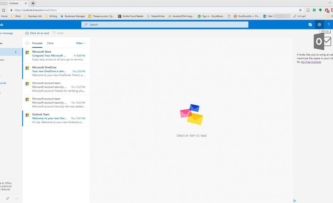 Входящие Outlook.com.