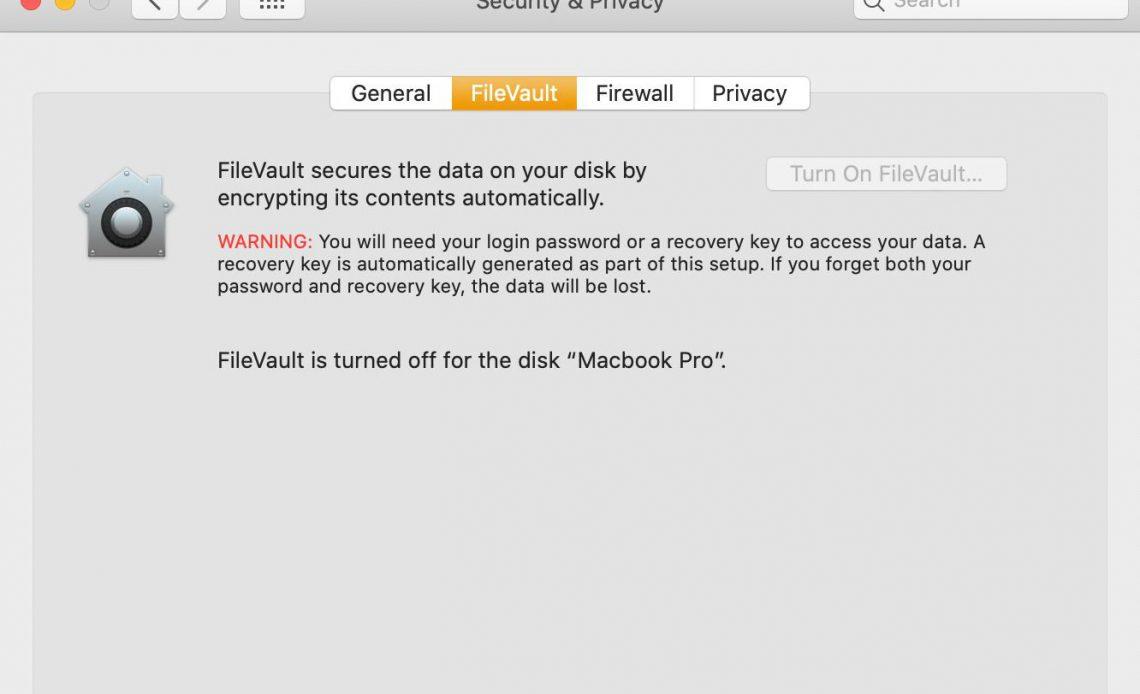 главная страница macOS FileVault