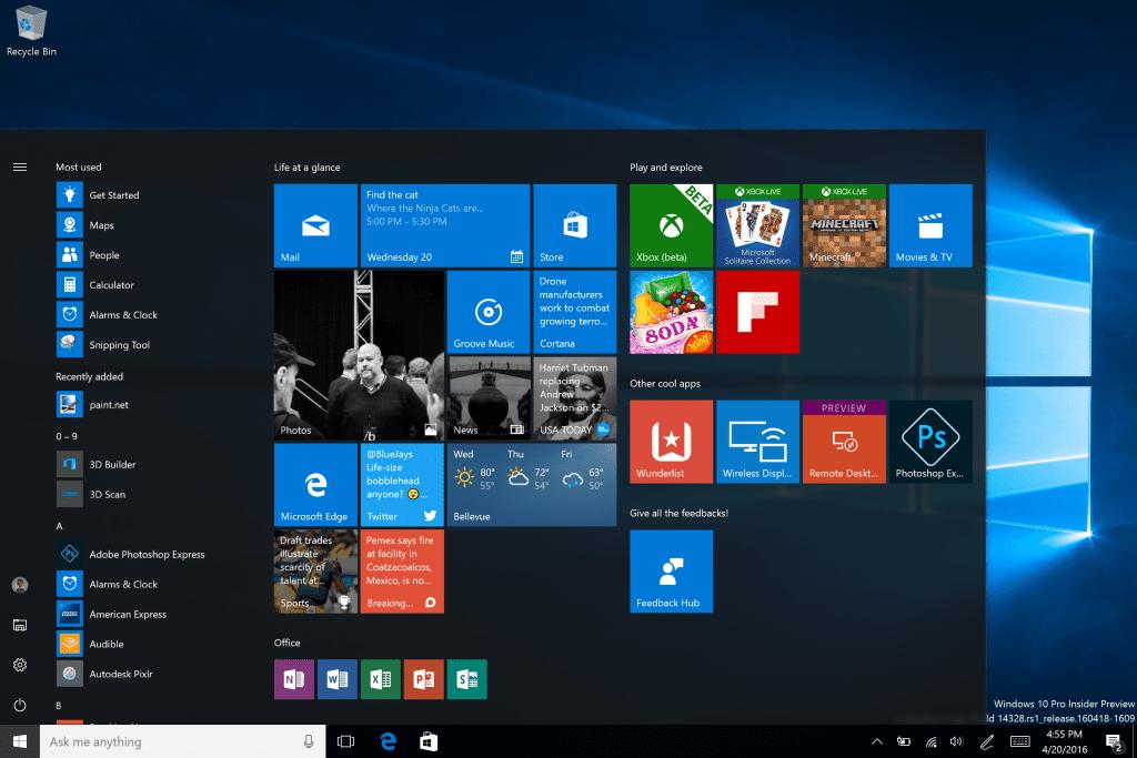 Экран приветствия Windows 10.