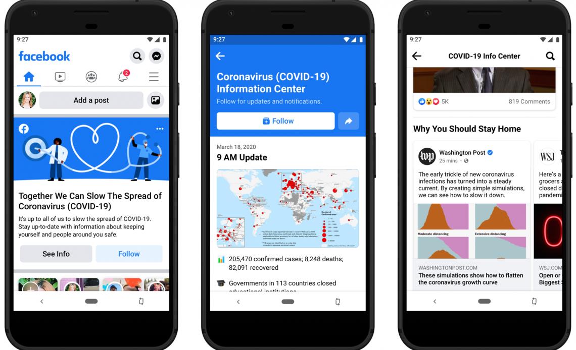 Три мобильных экрана для нового информационного центра Coronavirus (COVID-19) от Facebook