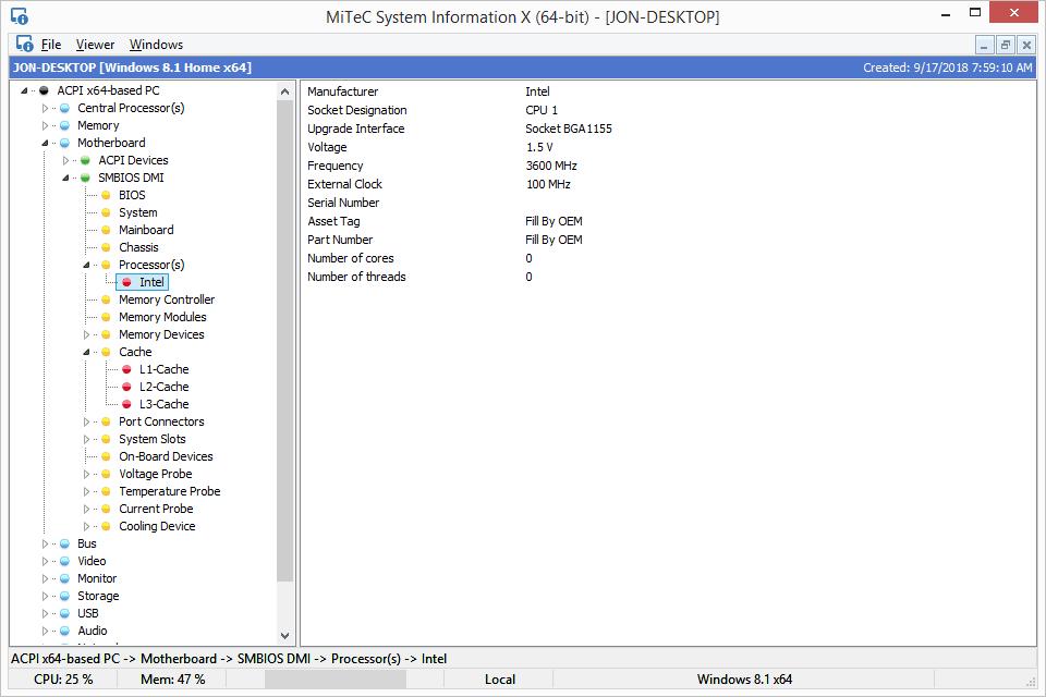 Информация о системе MiTeC X v3 в Windows 8
