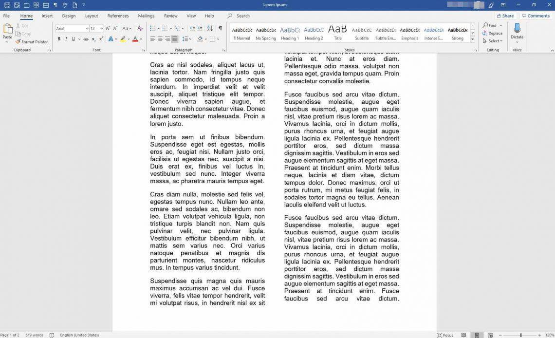 Документ MS Word с колонками