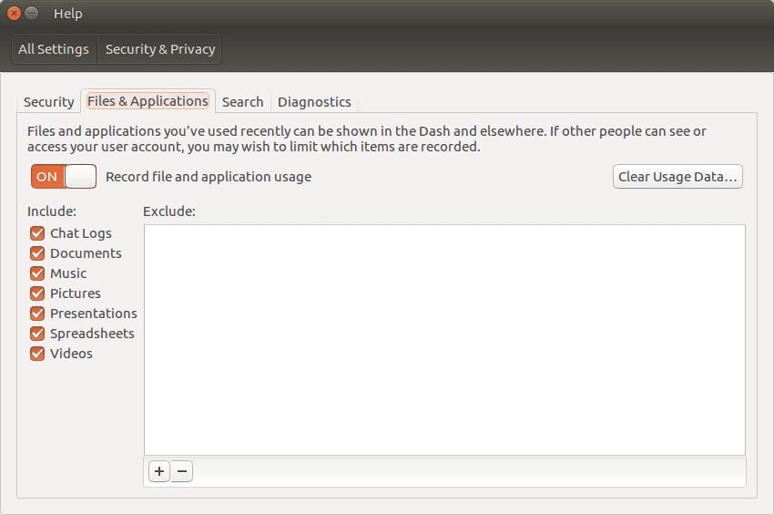 Снимок экрана истории поиска Ubuntu