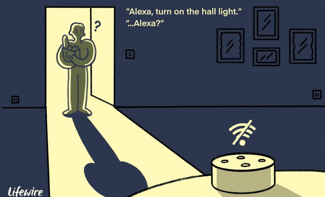Иллюстрация человека, входящего в темную комнату с не подключенным устройством Alexa