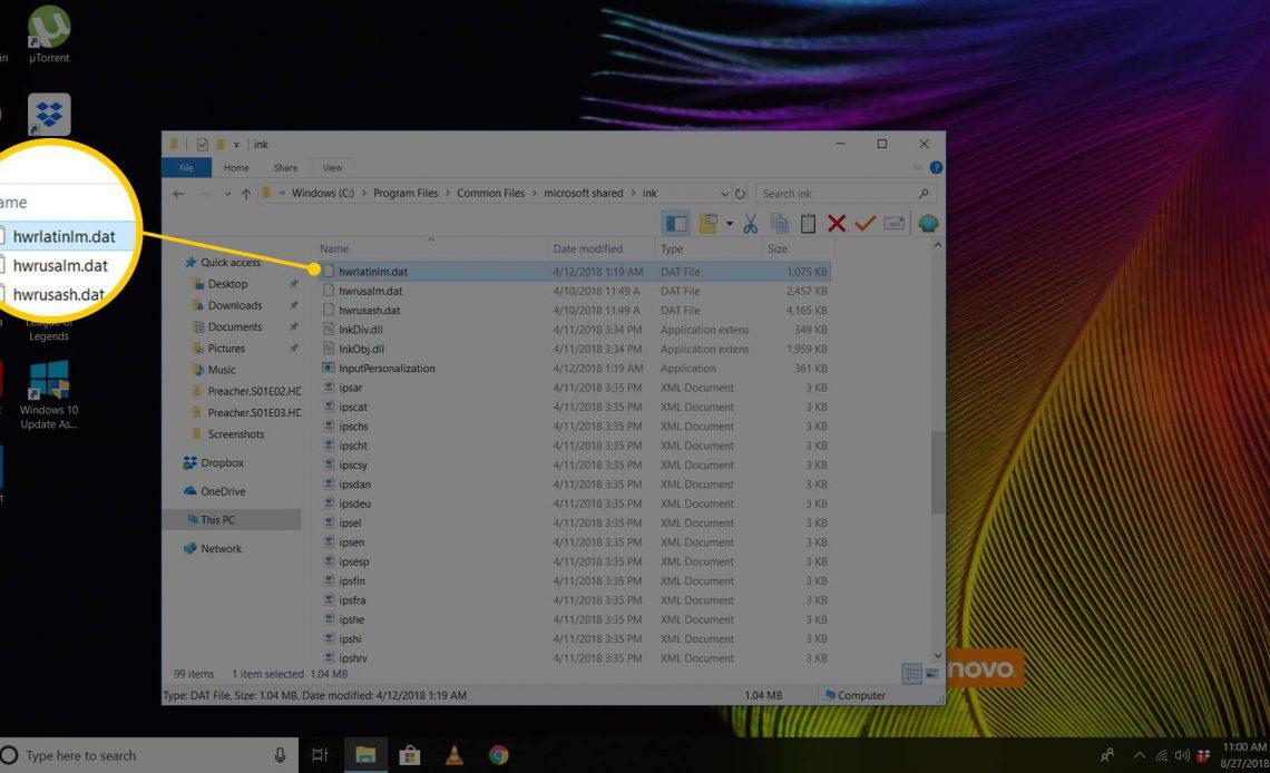 DAT-файл в Windows 10