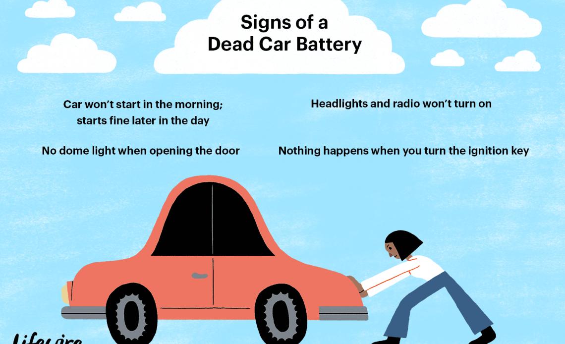 Иллюстрация некоторых из знаков мертвого автомобильного аккумулятора.