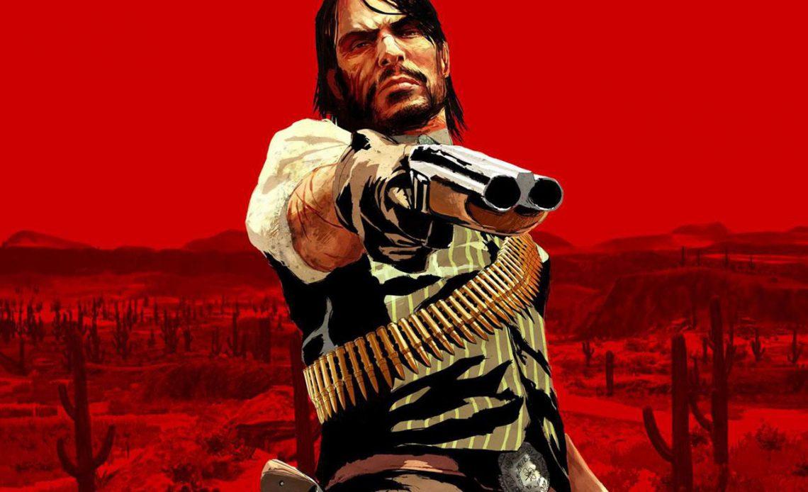Джон Марстон держит пистолет в Red Dead Redemption для Xbox 360