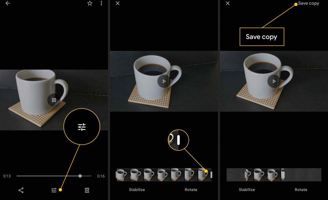 Кнопка редактирования, ручка обрезки, кнопка Сохранить копию в приложении для редактирования видео Android