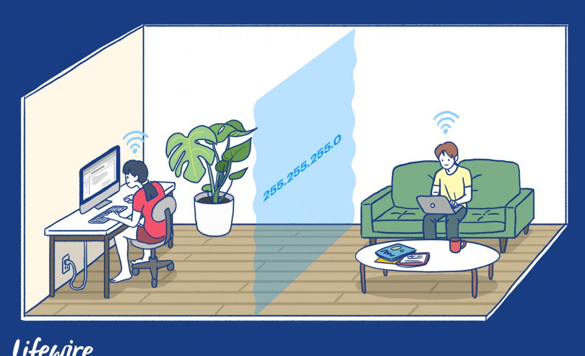 Иллюстрация двух человек в одной комнате с виртуальным