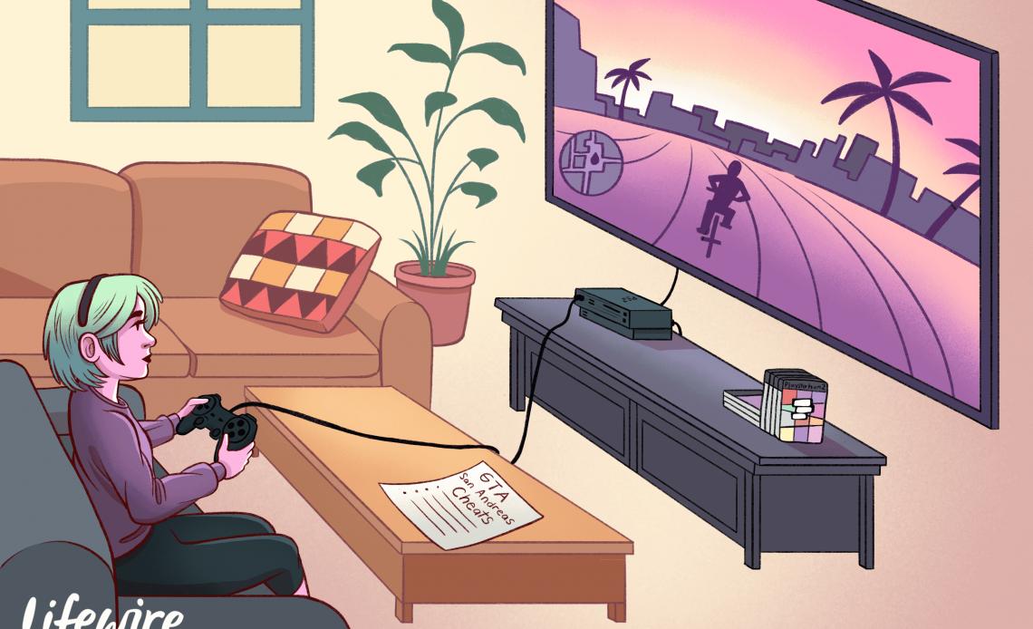 Геймер играет в GTA San Andreas на большом экране телевизора