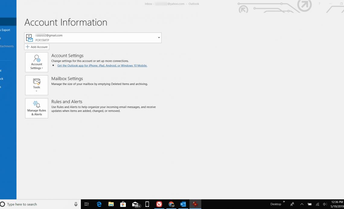 Скриншот открытия опций в Outlook
