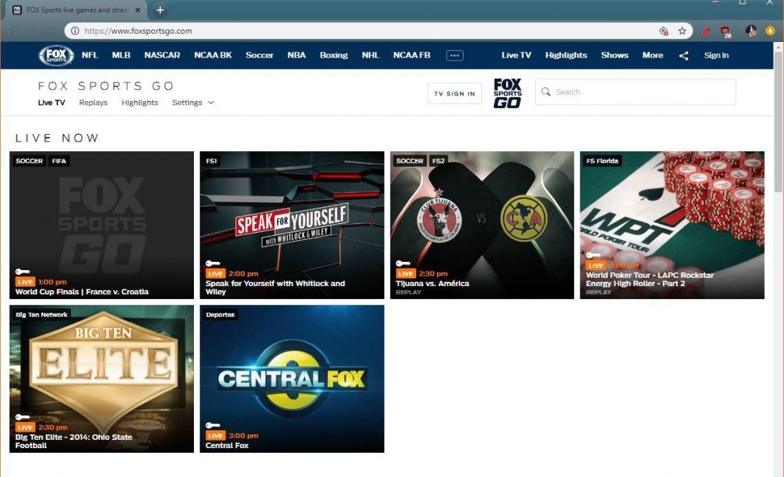 Скриншот FOX Sports GO, показывающий финал Кубка мира.