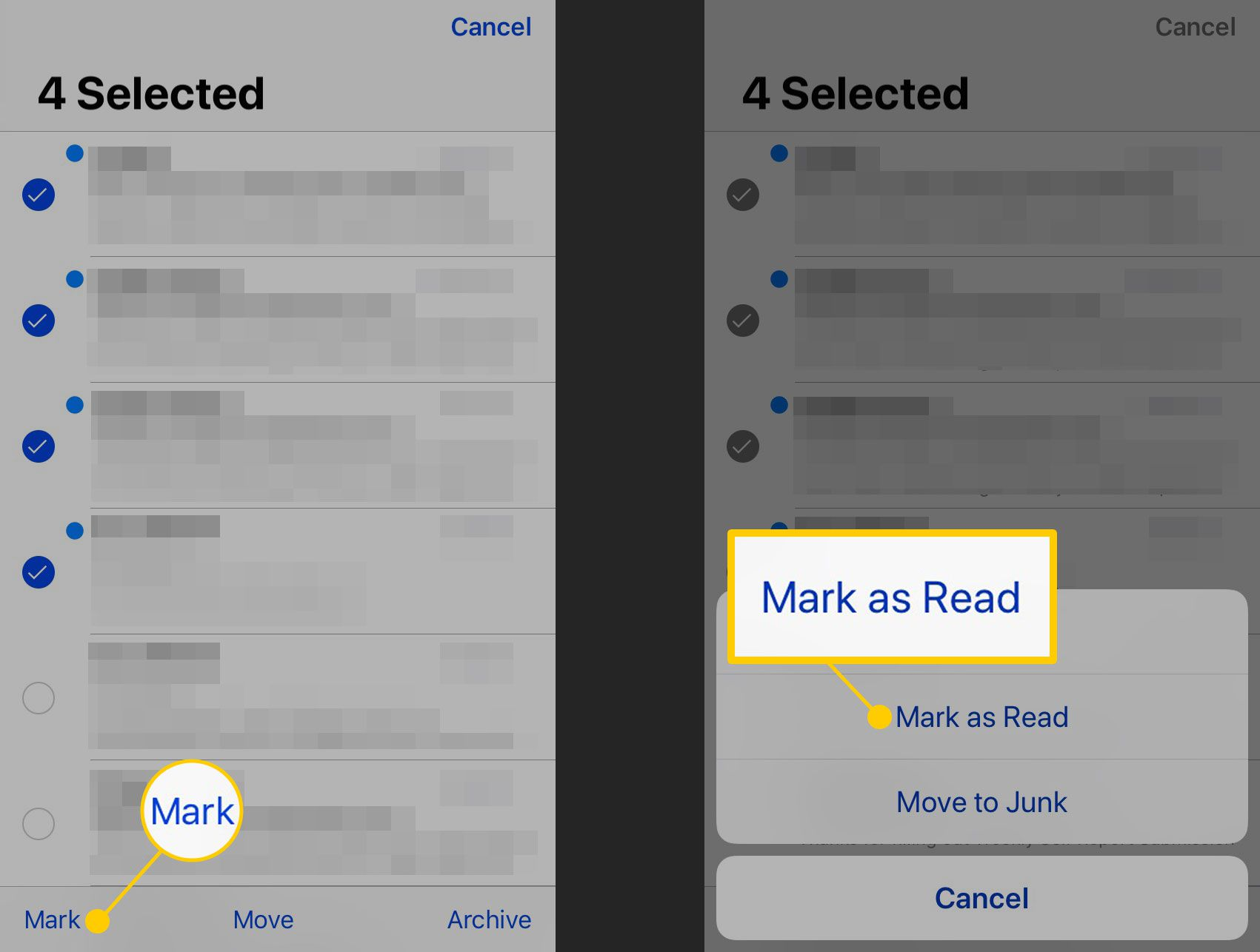 Пометка электронных писем как прочитанных на iPhone