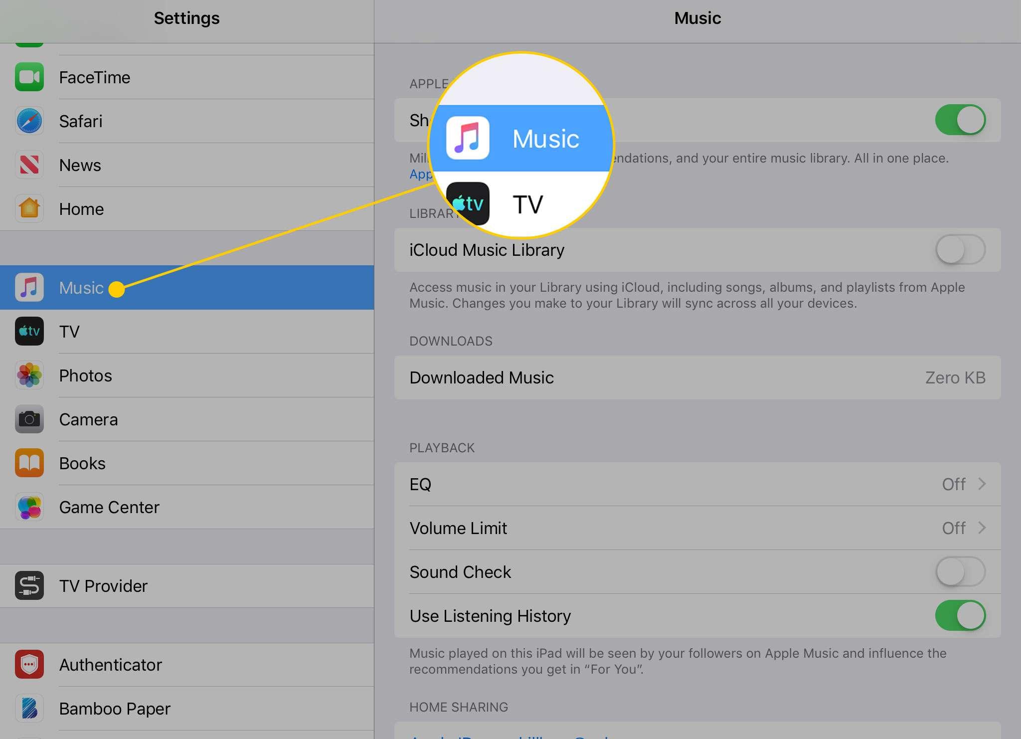 Приложение настроек на iPad с выделенным заголовком Музыка