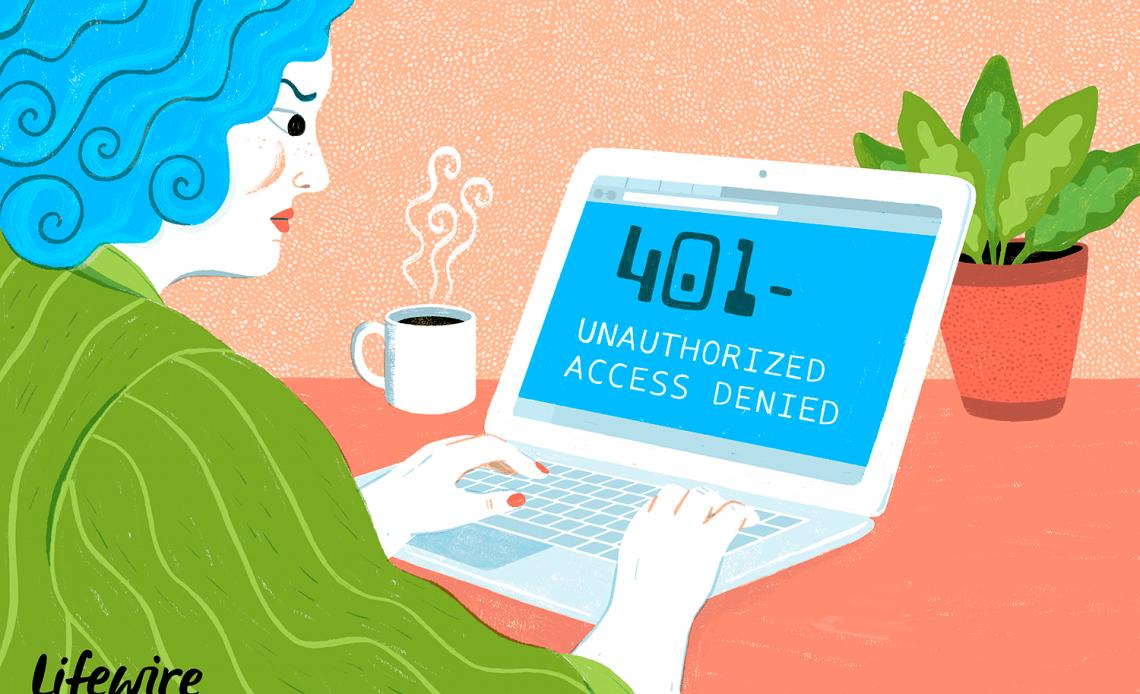 Иллюстрация разочарованного человека, получающего ошибку 401 на ноутбуке