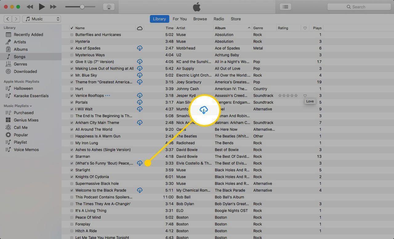 Библиотека iTunes с выделенным значком облака