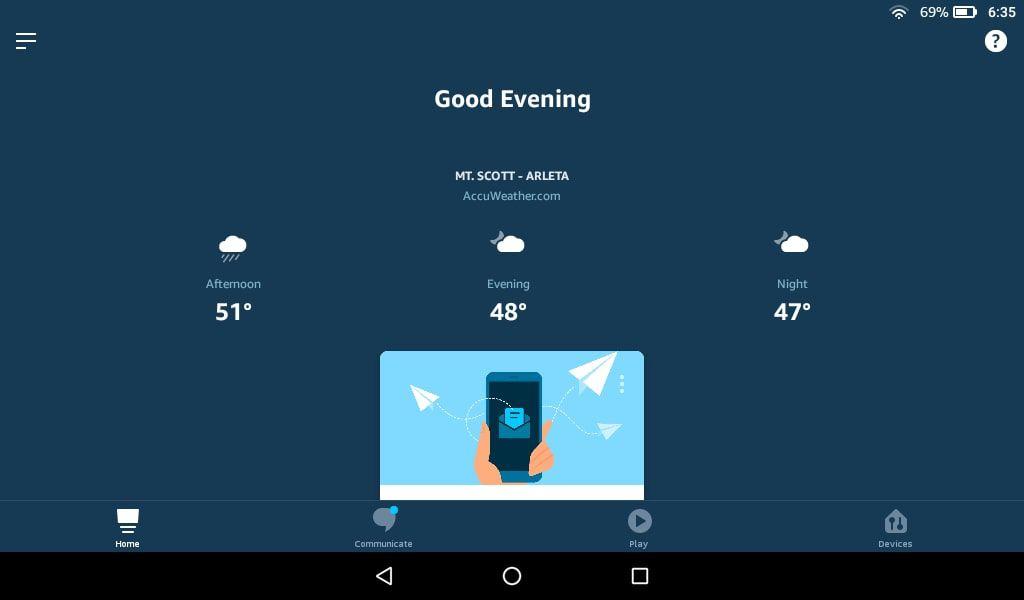 Запустите приложение Alexa и коснитесь значка «Меню» в верхнем левом углу.