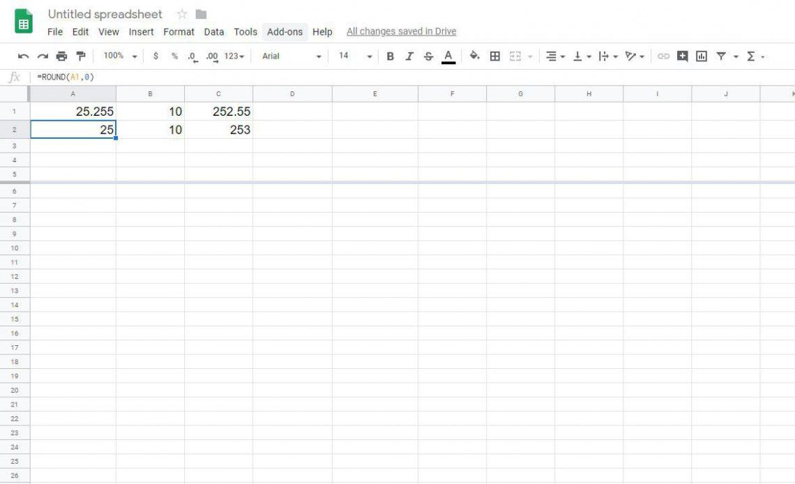 Округление чисел в таблицах Google с функцией ROUND