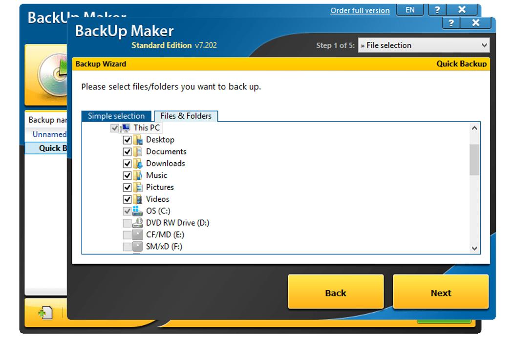 Мастер резервного копирования BackUp Maker