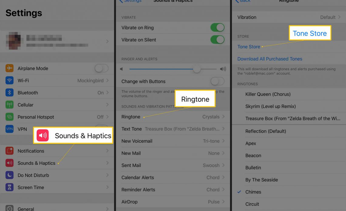 Три экрана iOS с кнопками Sounds & Haptics, Ringtone и Tone Store в приложении «Настройки»