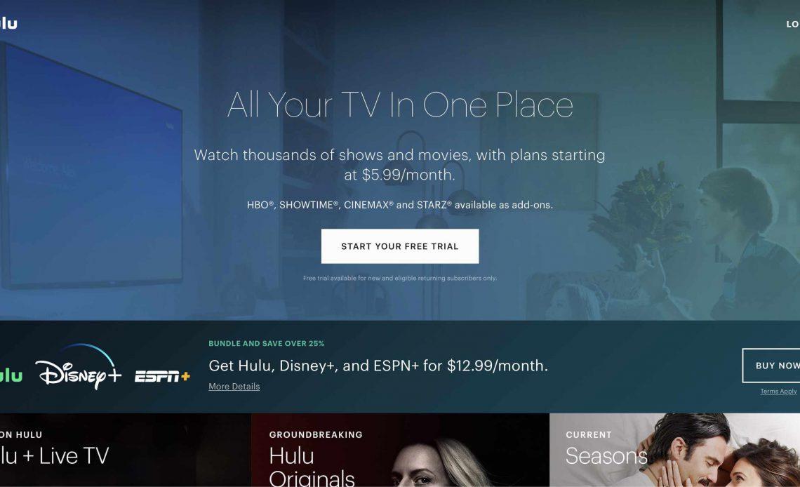 Домашняя страница Hulu