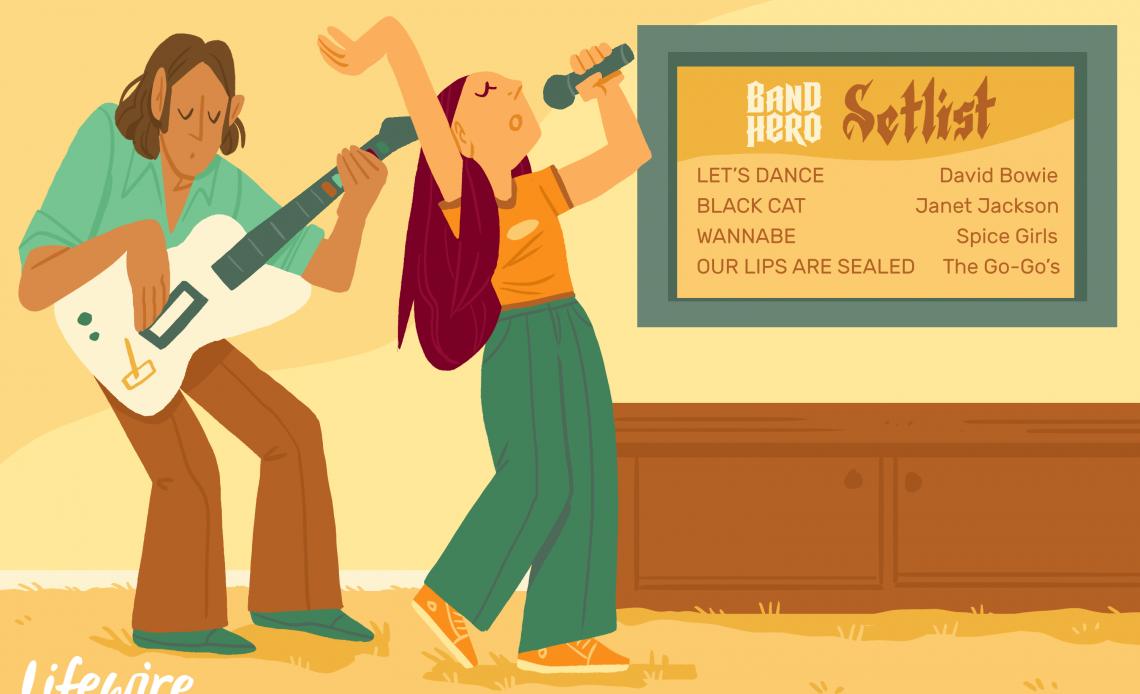 Два игрока играют в Hero Hero рядом с телевизором с сет-листом Band Hero на экране.