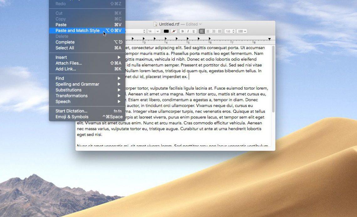 """Снимок экрана, показывающий команду """"Вставить и сопоставить стиль"""", выбранную в приложении macOS TextEdit"""