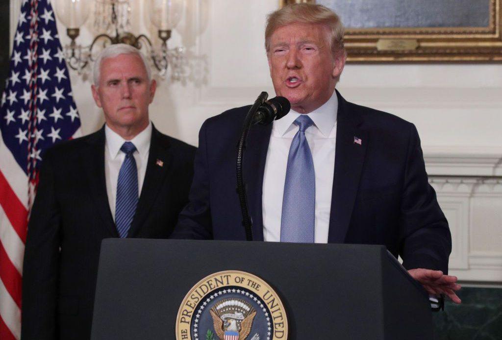Президент Трамп выступает с речью о недавних массовых расстрелах.