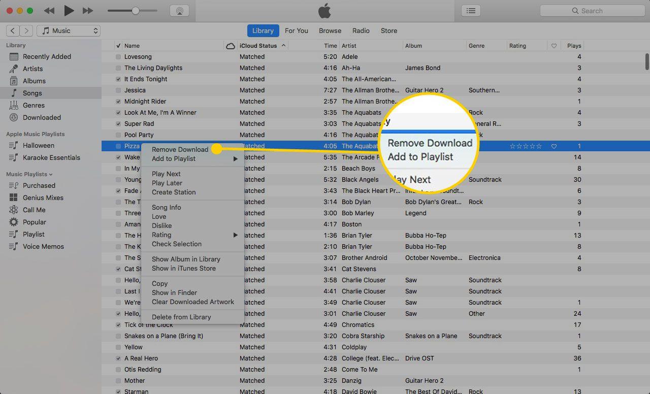 Меню песни iTunes с выделенной опцией «Удалить загрузку»
