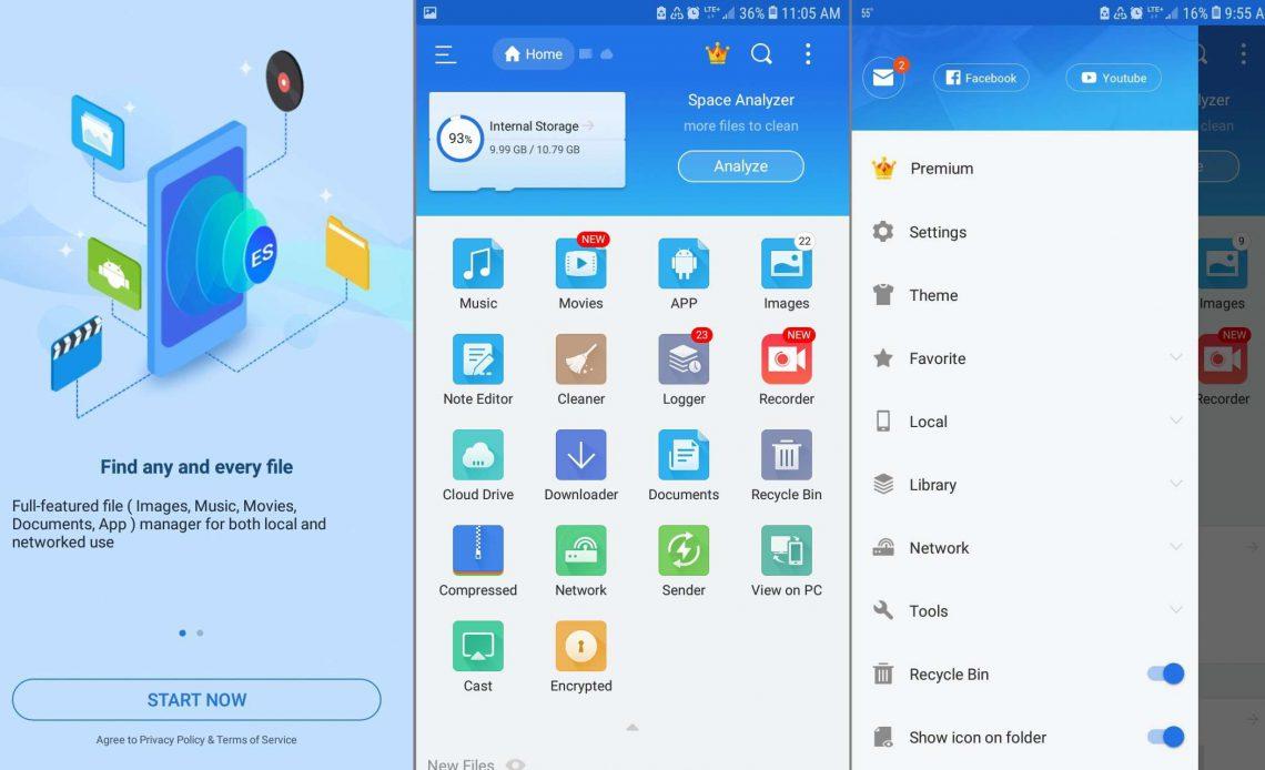 ES File Explorer для Android Главный экран и главное меню