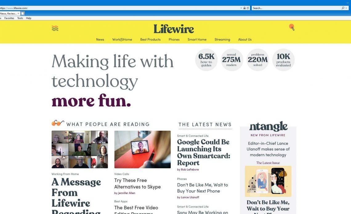 Домашняя страница Lifewire в Internet Explorer 11.