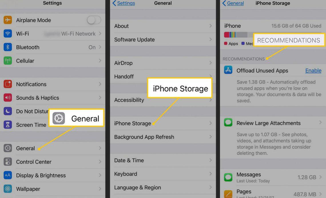 Общие, iPhone Storage, Рекомендации в настройках iOS