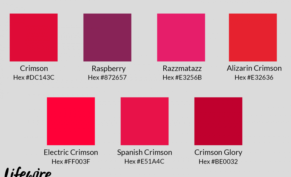 Образцы малинового цвета с шестнадцатеричными кодами