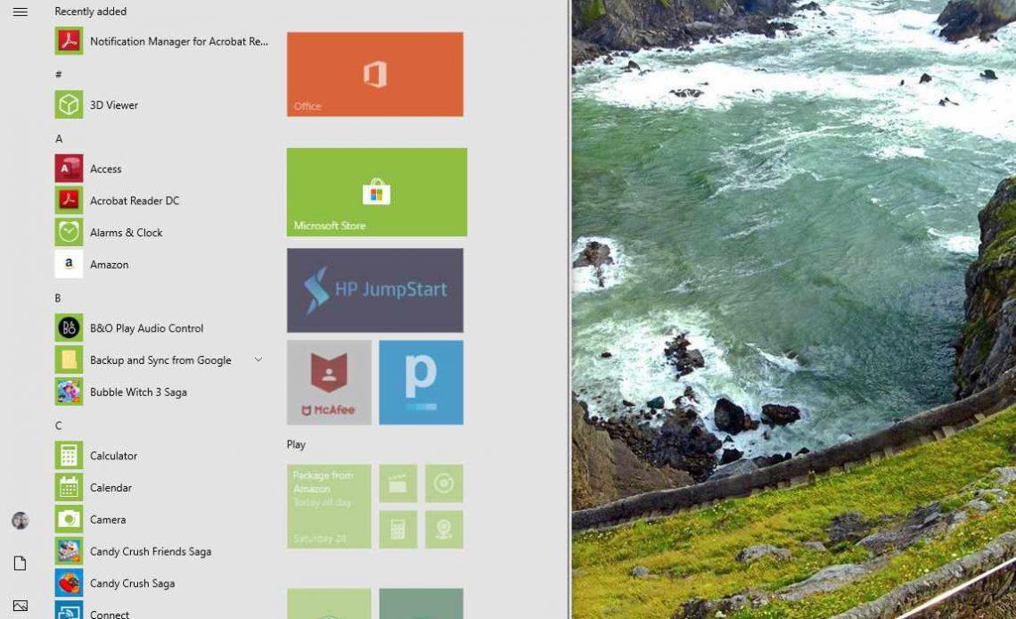 Снимок экрана Microsoft Store в меню «Пуск» Windows 10
