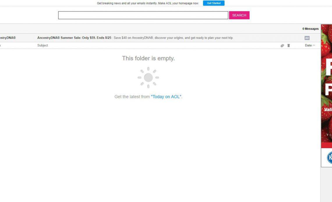 Снимок экрана настроек почты в меню параметров почты AOL