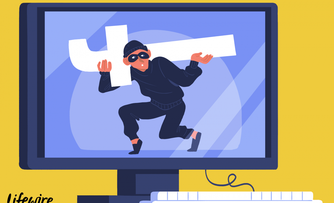 Иллюстрация монитора компьютера с грабителем ворует логотип Facebook