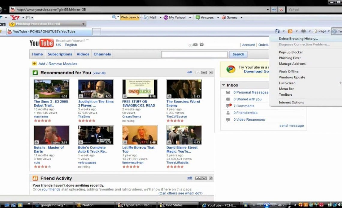 Выберите «Инструменты»> «Удалить историю просмотров» в правом верхнем углу Internet Explorer 7.