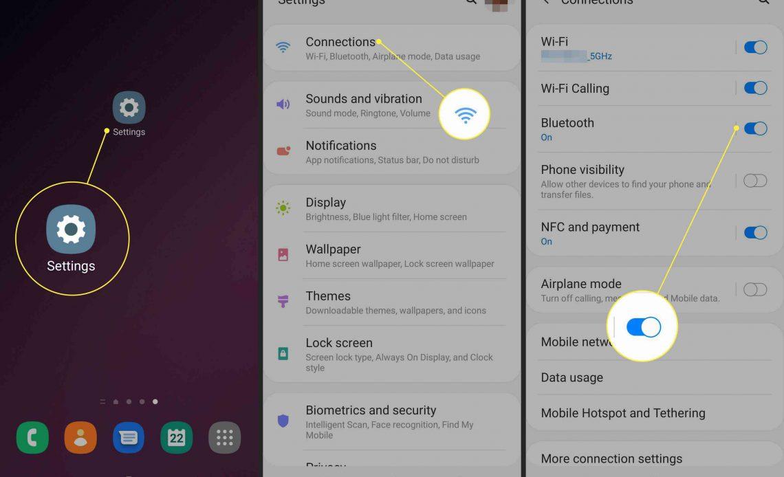 Снимки экрана устройства Android, показывающие, как включить Bluetooth