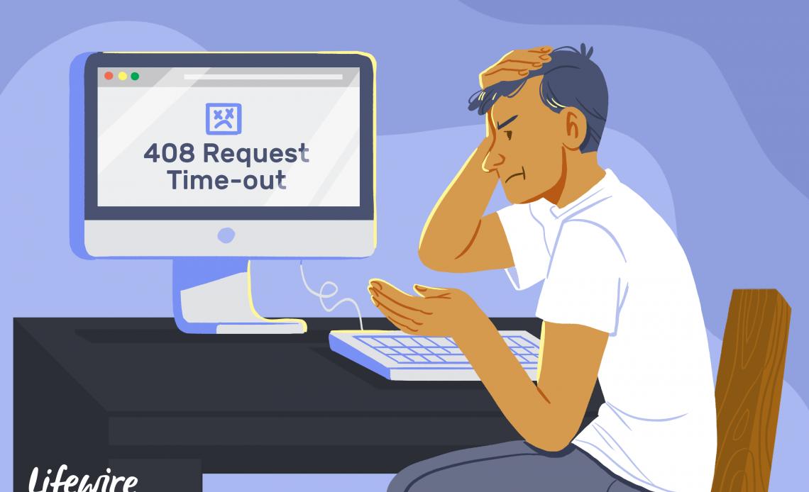 Иллюстрация расстроенного человека, смотрящего на тайм-аут запроса 408 на компьютере