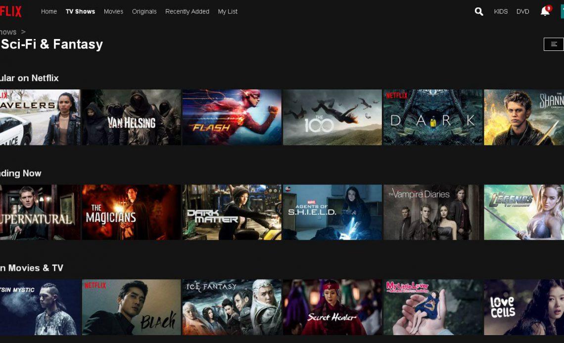 Пример меню Netflix