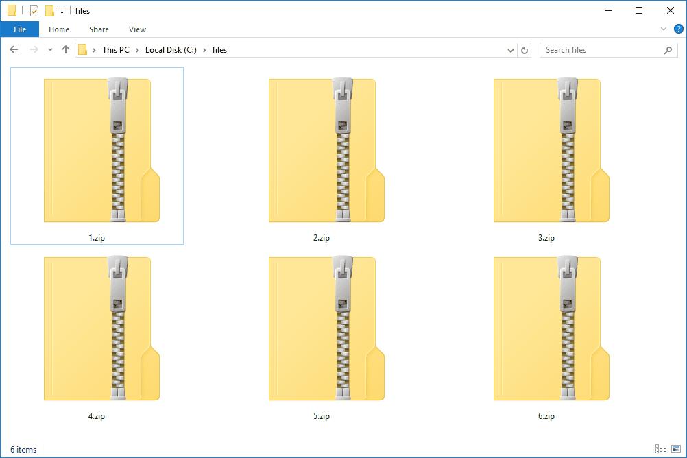 Шесть ZIP-файлов в сетке в проводнике Windows 10