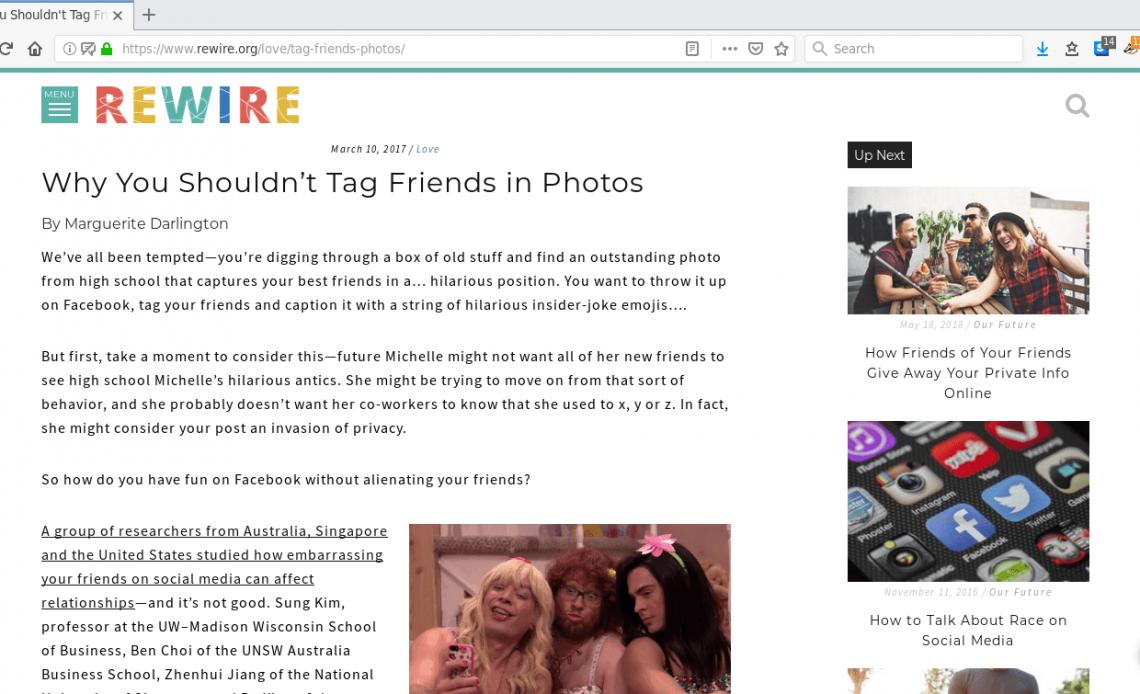 Браузер Firefox со статьей об пометке людей на фотографиях, загруженных онлайн