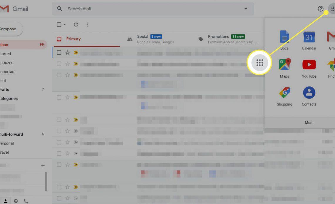 Снимок экрана Gmail с выделенным меню приложений Gmail