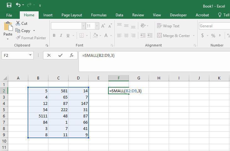 Иллюстрация МАЛЕНЬКОЙ функции в Excel.